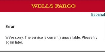 Wells Fargo Error Message